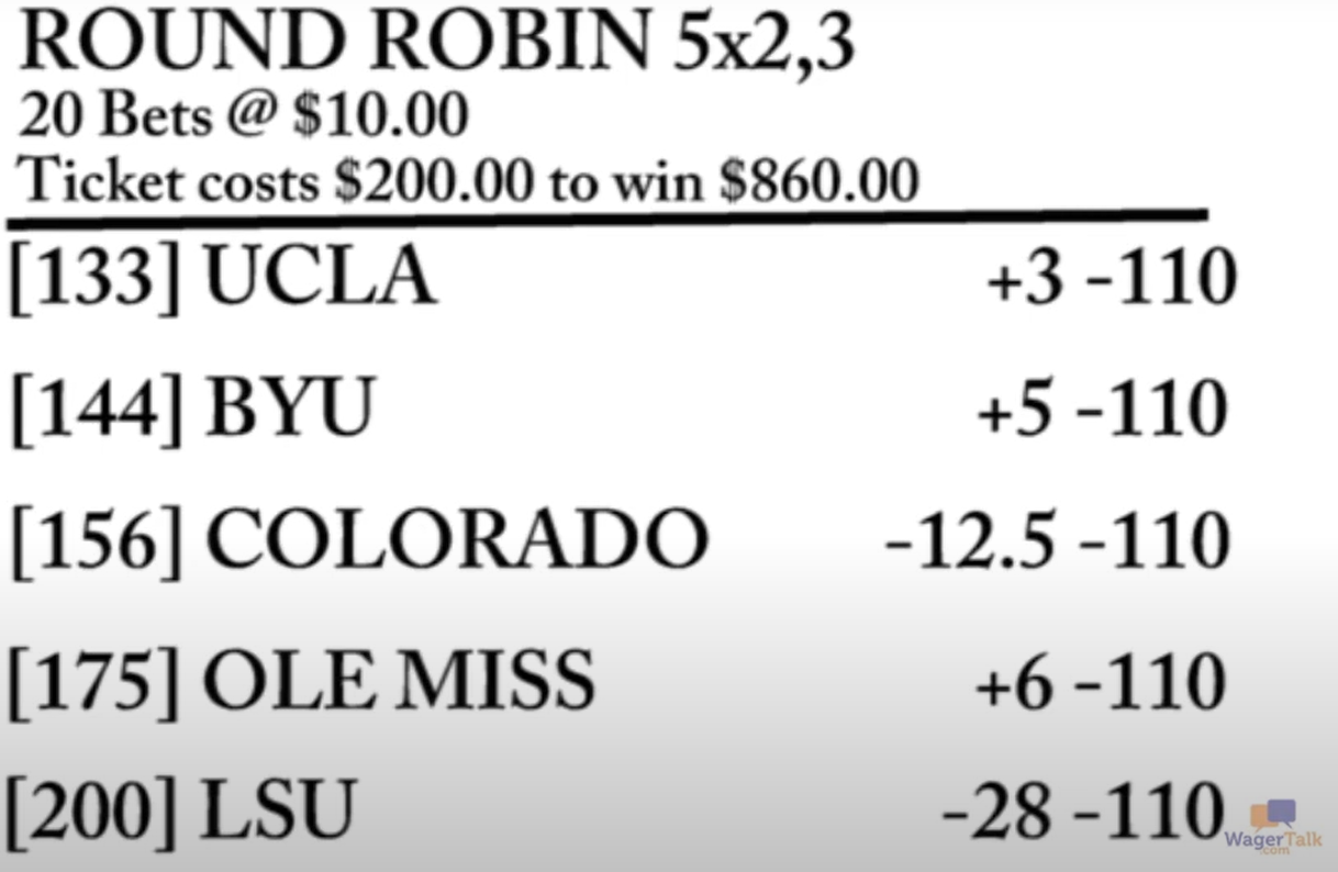 An example of a five-team round robin parlay